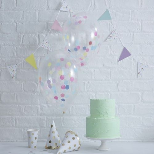 "Pick & Mix Confetti Balloons - 12"" Latex (5pk)"